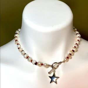 Necklace Freshwater Pearl and Garnet Nuggets